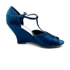 Size 8 T-strap teal wedge. Michaelangelo WHITLEY
